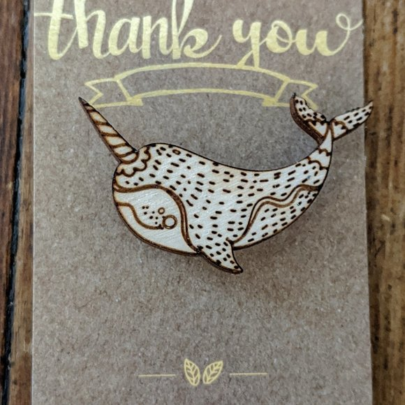 Hand Crafted Jewelry - Narwhal Laser Etched Wooden Pin NWT